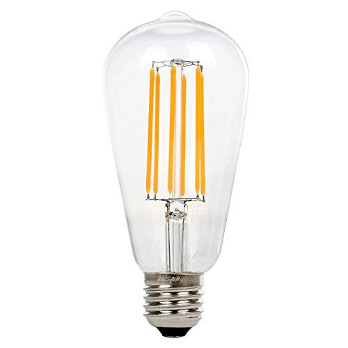 ST64 8W Vintage Lámpara de Techo, Retro Bombilla de filament LED Bulbo, NATIONALMATER Estilo de Edison Bombilla, E27 Base, 500 Lúmenes, Blanco Cálido 2200K, Equivalente a 60W Bombilla Incandescente (1-PACK)