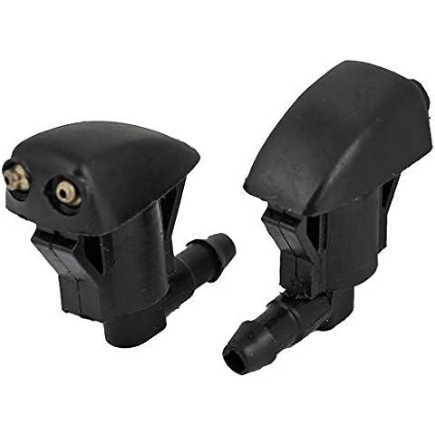 Junta de boquilla - SODIAL(R)1 par pulverizador de boquilla de lavaparabrisas frontales de plastico 85381 - 12050 Negro