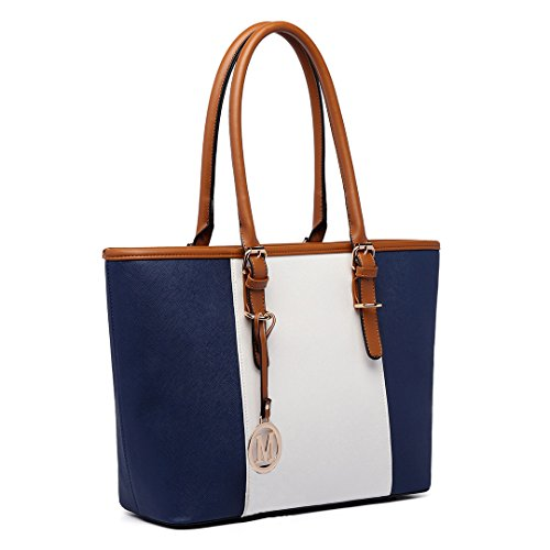 Miss LuLu Women's ladies Designer Celebrity Tote Bags Faux Leather Style Shoulder Shopper Handbags Adjustable Handles(E1661 Navy)