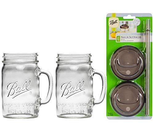 Trinkgläser mit 2 Trink- und Strohhalmdeckeln 24oz Mug farblos ()