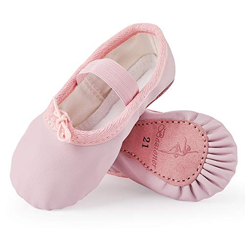 Scarpette da Danza Classica in Pelle Scarpe da Ballerina Ginnastica Ballo Pantofole per Bambina Ragazze e Donna Rosa 28