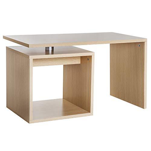 Table Basse contemporaine Design géométrique carré rectangulaire 77L x 40l x 44H cm Coloris chêne Clair