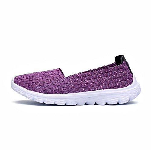LDMB Sommer Damen flache Breathable Handgewebte Schuhe Sportschuhe Slip On Lazy Schuhe Purple