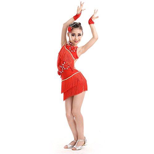 ostüme Latin Dance Kostüm mit Fransen Latin Dance Kleid Mädchen Frühjahr/Sommer-Show Dance Rock,Rot,150 (Latino Kostüm)