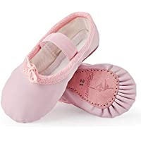 Bezioner Ballet Shoes Leather Ballet Flats Full Sole Dance Slippers for Girls Toddlers Women