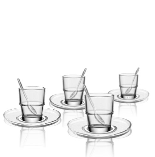 Leonardo Espresso Set 12 tlg. / 4 Espressobecher Solo, 4 Untersetzer Loop und 4 Löffel