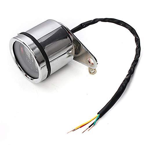 Huihuiya 2 in 1 Motorrad LED Digitaler Drehzahlmesser RPM-Meter Universal-Kraftstoffhebel-Messgerät-Schwarz