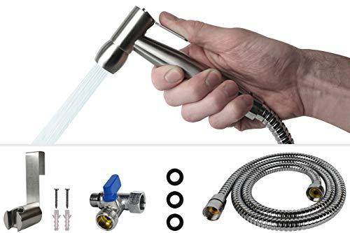 Deluy Handbrause Komplett-Set | Bidet aus gebürstetem Edelstahl | Shataf inkl. brauseschlauch, 3/8 zoll eckregulierventil & wandhalterung