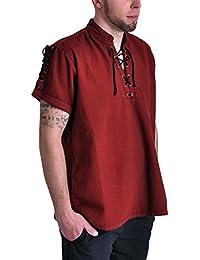 Chemise de pirate médiéval manches courtes cordelette col droit coton rouge