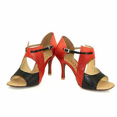 Scarpe da ballo-Personalizzabile-Da donna-Balli latino-americani Salsa-Tacco su misura-Di pelle-Nero Blu Rosso Argento Dorato sliver