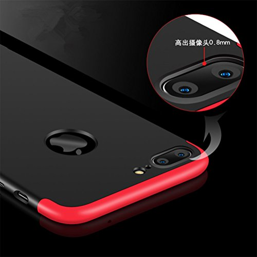 iPhone 7 Plus Case, Heyqie 360 Degree Full Protection 3 in 1 Ultra Slim Anti-Scratch Shockproof Smoothly Protective Hard PC Cover Case For Apple iPhone 7 Plus 5.5, Black Black shell + Red frame