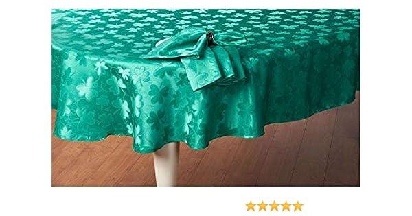 Newbridge St Patricks Day Green Damask Shamrock Tablecloth 52 x 52 Square