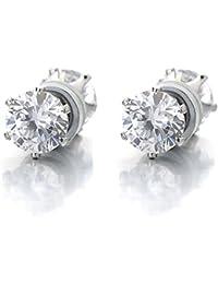 6MM Magnetic Cubic Zirconia Stud Earrings for Men Women, Non-Piercing Clip On Cheater Fake Ear Plugs