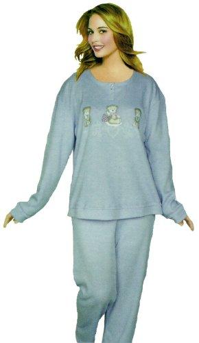 Damen Schlafanzug in angenehm zu tragender Jersey-Baumwolle mit Bärchen Applikation. Farbe Hellblau, Größe M-3XL Hellblau