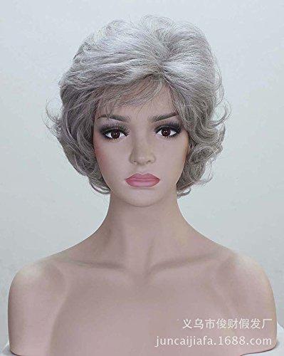 LFNRR alte Dame Perücke, graue Perücke Silber weiße Haare ,1 hohe Qualität - Lace Sealer Perücke