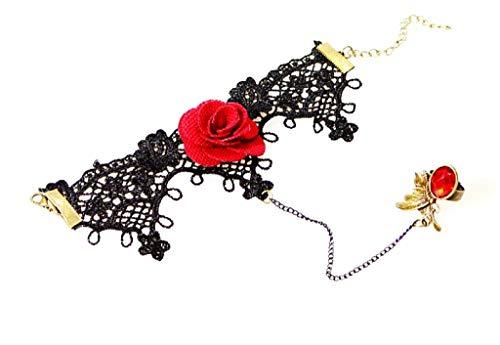 Imagen de evrylon pulsera baciamano mujer encaje macramé negro estilo victoriano link gótico niña bonito regalo m24