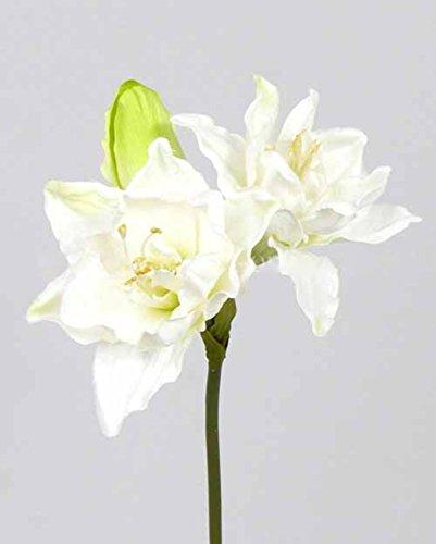 artplants Set 3 x Künstliche Amaryllis ALBINA, weiß-grün, 40 cm – Kunstblume Amaryllis/Ritterstern Blume