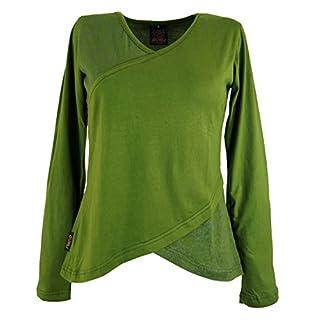 Guru-Shop Langarmshirt Boho-chic, Damen, Grün, Baumwolle, Size:M (38), Pullover, Longsleeves & Sweatshirts Alternative Bekleidung