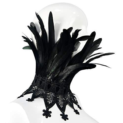 Homelex Schwarz Gotisch Viktorianisches Wirklich Feder Halsband Choker Schal ()