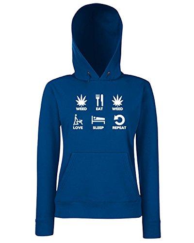 T-Shirtshock - Sweats a capuche Femme T0743 weed eat weed love sleep repeat fun cool geek Bleu Navy