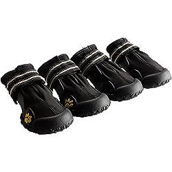 Treat Me 4PCS Botas para Perro Antideslizante Zapatos Impermeable Caliente y Reflectante para Pasar o Entrenamiento Negro-#7