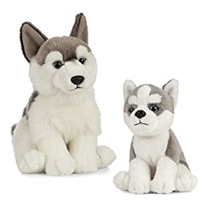 Living Nature Nature-AN488 Peluche para Perro y Cachorro, Color Grey & White, Paquete (Keycraft AN488