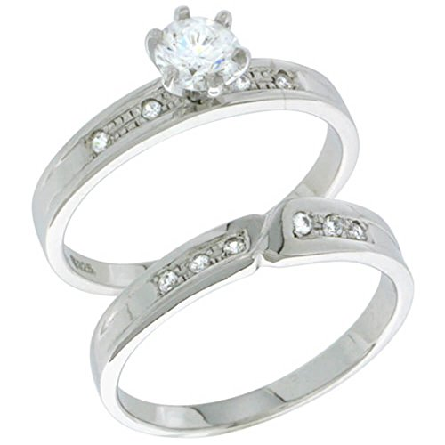 Sterlingsilber Diamant Simulant 4mm Damen Braut-Set Grösse 50 - Diamant-ring Engagement Tiffany
