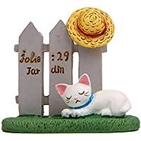 XeibD Miniatur Harz Rasen Zaun Katze Hut Micro Landschaft Ornamente Hausgarten Dekoration (weiß)
