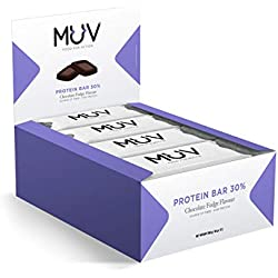 Muv Food For Action - Barres protéinées, goût fudge au chocolat, 12 x 30 g
