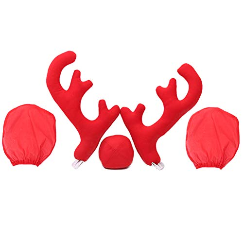 Car Rentier Kit,Auto Weihnachten Dekoration Rentier Geweih Rote Nase und Rückspiegelabdeckung Set für Dekor Ihr Auto - Weihnachten Zubehör (Auto Weihnachten Dekoration Kit)