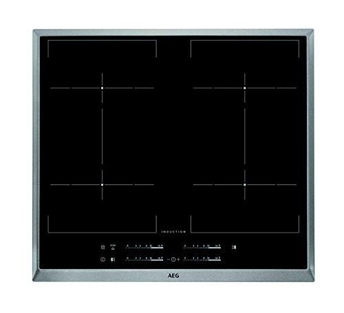 AEG HKE64450XB Einbaukochfeld / autarkes Induktionskochfeld mit Power-Funktion und 3-stufiger Restwärmeanzeige / 60 cm Glaskeramikfeld mit Edelstahlrahmen / 4 zusammenschaltbare Induktions-Kochstellen / schwarz & silber
