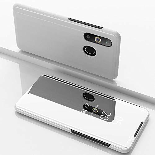 Funda® Miroir Placage Flip Coque pour Samsung Galaxy A8s/Samsung Galaxy A50/Samsung Galaxy A30/Samsung Galaxy A20 (Argent)