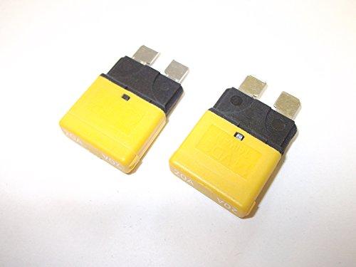 2 x 20amp Yellow Auto Reset Circuit Breaker Fuses Blade Automotive Marine Automotive Blade Fuse