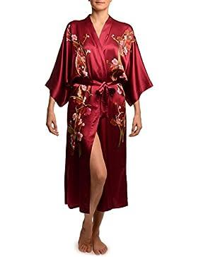 Burgundy With Sakura Bloom Luxurious Silk Dressing Gown (Robe) - Rosso Vestaglia Taglia Unica (165 cm)
