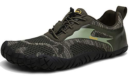 Voovix Barfußschuhe Herren Damen Outdoor Fitnessschuhe Traillaufschuhe Atmungsaktive rutschfeste Laufschuhe(Olive,48)