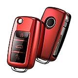 Autoschlüssel Hülle VW,VW Golf Schlüsselbox,Schlüsselhülle Cover für vw Polo Passat Skoda Seat 3-Tasten(Rot)[Verpackung:MEHRWEG]