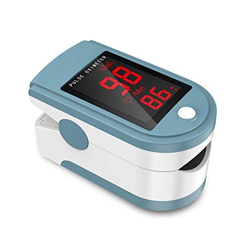 JUMPER Pulsoximeter mit Großem LED Bildschirm Finger SpO2 Pulsmesser Pulsmessgerät zur Messung der Blutsauerstoffsättigung und Herzfrequenz (Blau)