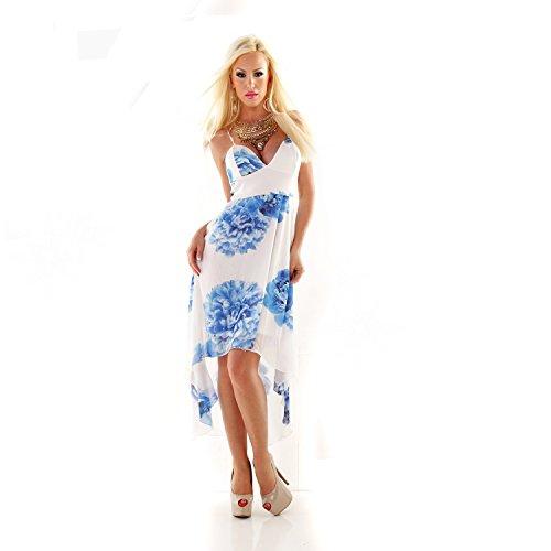 Fashion - Robe - À Fleurs - Femme S/M Blanc/bleu