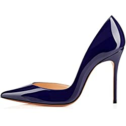 Arc-en-Ciel Damenschuhe pattent Leder-Absatzpumpe-blau-US16