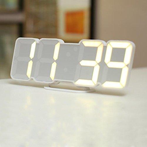 Aus Dual-alarm-clock-schwarz (ORPERSIST Wanduhr 3D LED Digital Clock Sprachsteuerung 115 Farbumwandlungen Fernbedienung Temperaturwecker Schwarz/Weiß,White)