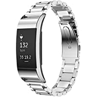 "YKHENGTU Fitbit Charge 2 Strap Wristbands Replacement, Premium Adjustable Stainless Steel Metal Watch Band Strap for Fitbit Charge 2 Watch Fitness Tracker (6""-7.87"")"