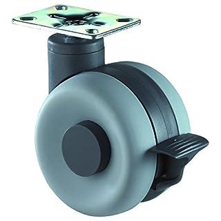 BS ROLLEN F363.060 Doppelrolle Design Top mit Bremse, ø 60 mm, mit PLochabstandtte 47x47 mm, grau/schwarz