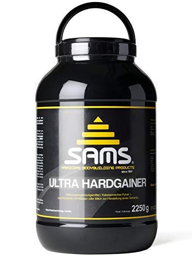 Ultra Whey Protein-pulver (5000 Kalorien pro Tag - Mass Weight Gainer mit Whey Protein Isolat Pulver - Aufbaunahrung für maximale schnelle Gewichtszunahme - Muskelaufbau & Masseaufbau SAMS Ultra Hardgainer - Vanille 2250 g Dose)