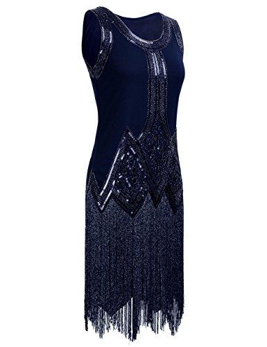 PrettyGuide Damen 1920s Vintage Perlen Franse Inspired Schwarz ...