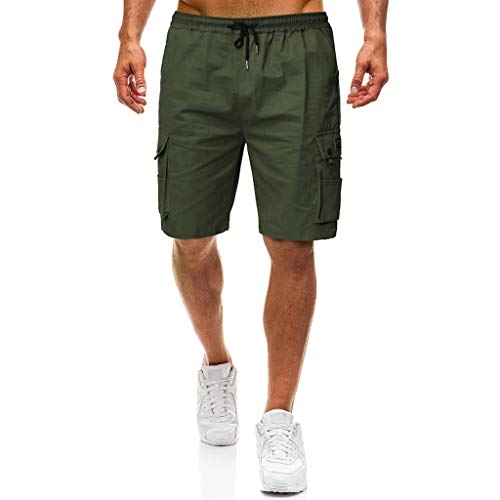 Chino Kurze Hose Sommer Bermuda Sport Jogging Training Stretch Shorts Fitness Vintage Regular Fit Sweatpants Baumwolle Qmber Werkzeugtaschenshorts Armee-Grün Schwarzes(AG,L) ()