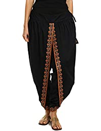 9Rasa Women's Cotton Dhoti Pants (9rasa-BT-11_Black_Free Size)