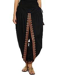 c7ecf42772 9Rasa Women s Cotton Dhoti Pants (9rasa-BT-11 Black Free Size)