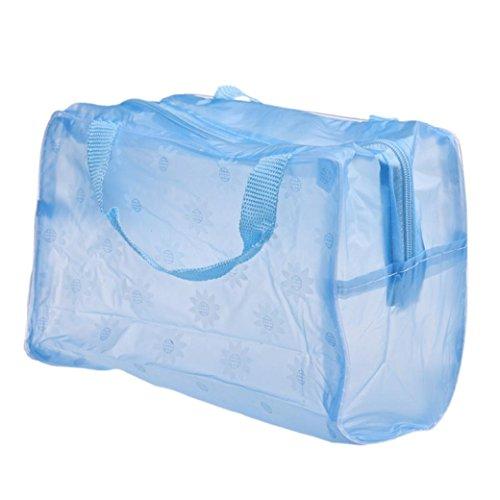 Internet Carré Portable maquillage cosmétiques toilette brosse à dents Voyage lavage sac organisateur Bleu