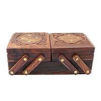 WhopperIndia Wooden Handmade 2 Folding Jewelry Storage Organizer Box Wooden Decorative Keepsake Jewelry Box with Brass Inlay Unique Flower Design 8 X 3 X 4 Inch