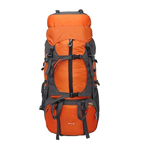 Professionelle Bergsteigen Outdoor Travel Camping Große Kapazität Wasserdichte 50L Rucksack,Red Orange